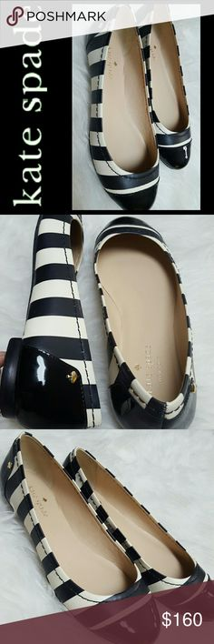 Kate Spade NY Ballet Striped Flats NEW Kate Spade NY Signature Ballerina Flats in Patent Leather! Adorable in Striped Black and White! Tonal Stitching Throughout with Leather Lining and Rubber Sole!  Features Iconic Kate Spade Charm in Gold Tone on Each Side of Heel! Cushioned Insole, Slip On Style! New Without Tag! Size 6M kate spade Shoes Flats & Loafers