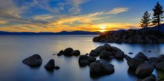 Lake Tahoe, Sunset over Sand Harbour