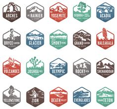 Stamp icons for the National Parks by National geographic app by Valerie Jar