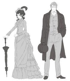 Alexia Tarabotti & Lord Conall Maccon graphic novel Sketches - The Parasol Protectorate Series