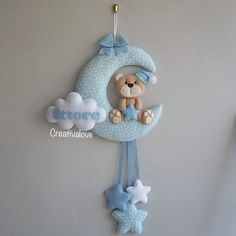 Moon Clouds and Stars Baby Mobile Silver Nursery Mobile Light Blue Nursery Decor Baby Boy Room Decor Shiny Mobile Shiny Star Nursery Decor Baby Crafts, Felt Crafts, Diy And Crafts, Baby Kranz, Baby Boy Shower, Baby Shower Gifts, Nursery Bunting, Star Nursery, Nursery Decor