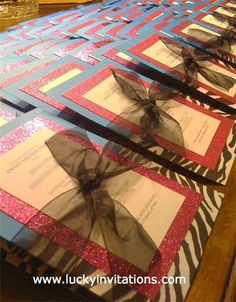 Sweet 16 Party Invitation : A special invitation for a special young lady. Mounted on a mix of either shiny or sparkle pink paper with a bit of animal print and tied with a black fabric netting. www.luckyinvitations.com