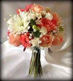 Artificial silk and foam wedding flowers Bouquet of coral and white roses,gerbera and stephanios flowers in a handtied bunch on Etsy, $117.24