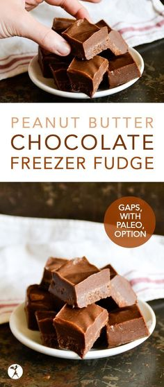 Peanut Butter Chocolate Freezer Fudge :: GAPS, paleo & vegan options - - This GAPS-friendly, dairy-free Peanut Butter Chocolate Freezer Fudge is full of healthy fats, and is only sweetened with honey! Paleo Fudge, Healthy Fudge, Healthy Peanut Butter, Fudge Recipes, Sweets Recipes, Real Food Recipes, Healthy Fats, Healthy Snacks, Diet Recipes