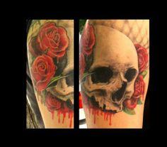 Roses and skull bones