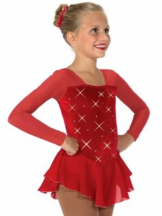 Jerry's 12 Red Rhinestone Dress Style: Rhinestone velvet dress Long mesh sleeve Square neckline bodice Single layer georgette skirt with silver edge Made in Canada Jerry's 12 Anne Geddes, Ice Skating Dresses, Skate Wear, Rhinestone Dress, Dan, Skirts, How To Wear, Tops, Women