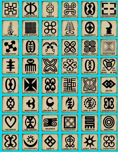 Adinkra symbols this page show a few of the stamp designs used in printing African adinkra textiles. Many of the designs have proverbs. The meanings of these symbols are posted in English. The stamp designs printed on cloth tell a story.