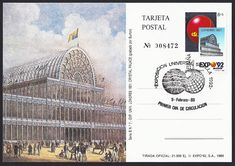 Spain Scott B142 (09 Feb 1989) stamp on postcard promotes the 1992 Universal Exposition of Seville, Spain by honoring a previous exposition: Crystal Palace, London, 1851. The Crystal Palace was a cast-iron and plate-glass building originally erected in Hyde Park, London, England, to house the Great Exposition of 1851. Examples of the latest technology developed during the Industrial Revolution were displayed. The Universal Exposition of Seville (Expo '92) took place from 20 Apr to 12 Oct…