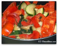 "Sauteed zucchini bell peppers...a beautiful, easy side dish recipe.  Double or triple it to make a easy healthy dinner.  Ingredients  1 pound Zucchini (cut in half moon; about ½"" thick) 2 Red Bell Pepper (seeded and discard membranes; cut in stripes) 1 Clove Garlic (minced) 1 pinch of Crushed Red Pepper (optional)"