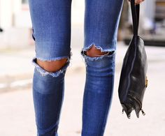 Distressed Skinny Jeans #skinnyjeans #rippeddenim