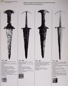 medieval daggers south germany, first half of the 14th c