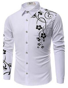 Big SALE New 2017 Spring Men Casual Shirts Fashion Long Sleeve Brand Printed Button-Up Formal Business Polka Dot Floral Men Dress Shirt Long Sleeve Shirt Dress, Long Sleeve Shirts, Dress Shirts, Casual Shirts For Men, Men Casual, African Men Fashion, Fall Shirts, Floral Print Shirt, Types Of Shirts