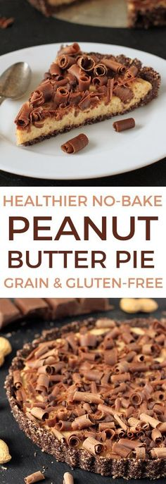 This healthier no-bake peanut butter pie is naturally sweetened and uses natural peanut butter! (grain-free, gluten-free, raw)