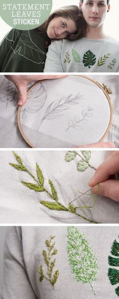floral embroidery DIY- Anleitung: Bltter sticken, Stickvorlagen fr Bltter / diy tutorial: embroidery for statement leaves, stitching via Embroidery Designs, Embroidery Leaf, Hand Embroidery Stitches, Cross Stitch Embroidery, Machine Embroidery, Sweater Embroidery, Diy Clothes Embroidery, Beginner Embroidery, Paper Embroidery