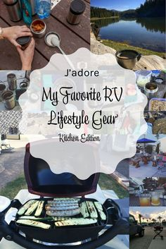 RV gear for the kitchen - indoors and outdoors. My favorite kitchen gear on the road.  Camp kitchen necessities. Traveling on the road - stuff you'll need in your kitchen.