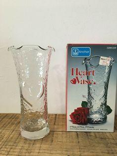 Vintage Anchor Hocking Glass Heart Vase Valentines Day Original Box #AnchorHocking