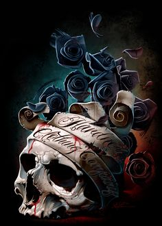 | skull banner and roses by hardnox757 digital art drawings paintings ... Charlie Immer- translucent bubbly genius Creative Boys Club » we love skulls www.creativeboysclub.com/tags/we-love-skulls