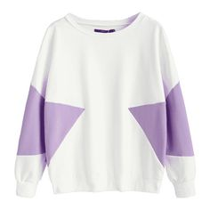 Piped Two Tone Sweatshirt Purple S ($30) ❤ liked on Polyvore featuring tops, hoodies, sweatshirts, purple sweatshirt, white top, white sweatshirt, purple top and two tone sweatshirt