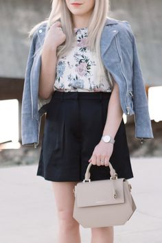 H&M fashion finds // Spring blogger outfit inspiration featuring a periwinkle blue suede jacket, floral print tank and high waisted shorts.