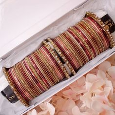 Our most popular stack this week!✨ Luxurious Bridal style stack in deep maroon and nude tones. These come in our branded boxes 😍 Shop:… Bridal Bangles, Bridal Style, Antique Gold, Nude, Crystals, Luxury, Antiques, Gifts, Jewelry