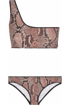 Stella McCartney Snake-print one-shoulder bikini | NET-A-PORTER