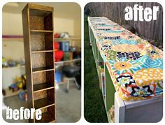 Old bookcase flipped on side to Padded Bench cushion with shelves~~~Def gonna have to try this w/ Madilynn's Bookshelf!.