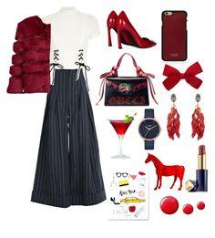 """red"" by mercantichiara on Polyvore featuring Jacquemus, River Island, AINEA, Gucci, Vianel, Marni, Nixon, Topshop and Estée Lauder"