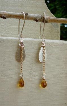 Honey Drop Earrings Sterling Silver and by EmilyClaireStudio