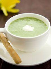 Asparagus Soup with Lemon Creme Fraiche  www.partiesthatcook.com