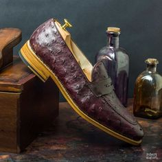 Custom Made Goodyear Welted Loafers in Burgundy Genuine Ostrich with Dark Brown Pebble Grain Leather and Box Calf 1 Goodyear Shoes, Goodyear Welt, Brown Loafers, Loafers Men, Custom Design Shoes, Hot Shoes, Men's Shoes, Stylish Mens Outfits, Luxury Shoes