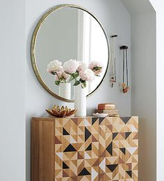 tuesday top pin. we can see our Tork Brass Mirror making an impression in the entry, bath, bedroom or public space. tap link in bio follow @cb2pins on #pinterest!  #cb2 #mirror #roundmirror #allthatbrass #homedecor #pinner #interior #cb2spring