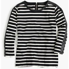 J.Crew Striped T-Shirt With Back Zipper (54 CAD) ❤ liked on Polyvore featuring tops, t-shirts, shirts, long sleeves, striped t shirt, striped shirt, loose fit t shirts, long sleeve t shirts and striped tee