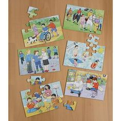 A set of #quality, highly #durable puzzles #illustrating positive images of children with #various #disabilities carrying out everyday tasks such as #swimming and #walking the #dog. Each jigsaw contains 12 pieces. Pack of 6. Size: 200 x 200mm. #british #england #derby #madeinengland #madeinbritain