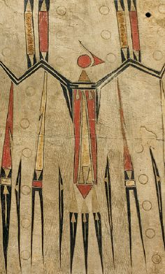 Robe (detail), ca. 1700–40. Eastern Plains artist; probably Illinois, Mid–Mississippi River Basin. Native-tanned leather, pigment. Musée du quai Branly, Paris, France (71.1878.32.134)