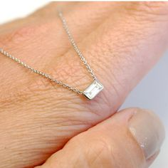 Diamond Necklace Baguette Diamond Solitaire Necklace by NIXIN, $850.00