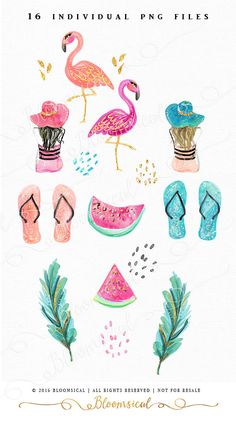 Tropical Clip Art Hand Drawn Fashion Girl Hat by Bloomsical