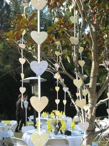 my sister's lovely handmade paper heart wedding tree decoration