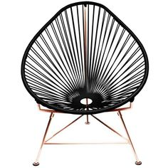 Innit Designs Acapulco Chair With Copper Frame Black On Copper By ($398) ❤ liked on Polyvore featuring home, furniture, chairs, accent chairs, onyx furniture, onyx lounge, black furniture, black accent chair and woven furniture