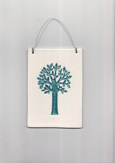 Tableau déco, arbre bleu turquoise en céramique