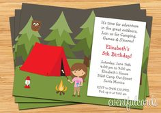 Girls Camping Birthday Party Invitation by eventfulcards on Etsy, $15.99