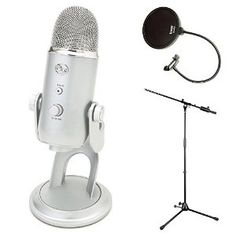 Blue Microphones Yeti USB Microphone with Boom Stand and Knox Pop Filter. *Click Image For Details*.