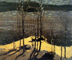 Tom Thomson - Moonlight and Birches, associated with Group of 7, 1915