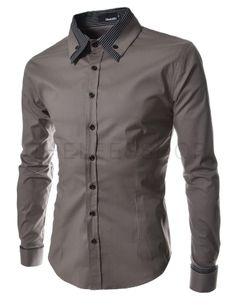 (ST29-DARKGRAY) Mens long double collar cuff slim dress shirts DARKGRAY