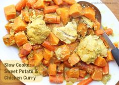 Slow Cooker Sweet Potato and Chicken Curry ~ budget friendly Paleo dinner recipe that is healthy and delicious! | 5DollarDinners.com
