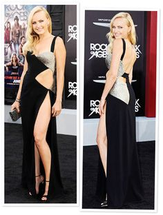"""This is a new take on rock-and-roll inspiration! #MalinAkermanwalked the Rock of Ages carpet in #ReemAcra's high-slit design. """"It's a little bit risqué,"""" she told InStyle.com. """"But I thought, 'It's rock-and-roll! You've got to go all the way!'"""" http://news.instyle.com/2012/06/11/malin-akerman-side-cutout-black-dress-reem-acra/"""