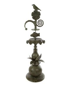 "Garden totem made of aluminum. Verdigris patina. 17""Dia. x 61""T. Imported. Boxed weight, approximately 20 lbs."