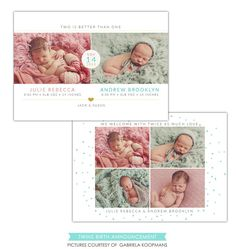 #52 Twins Birth Announcement | Two babies