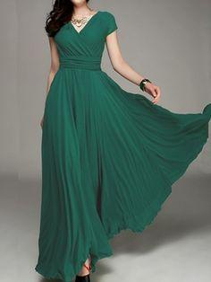 Vestido largo plisado bohemio de dos pisos manga corta elegante verde oscuro - Vestidos Maxi - Vestidos