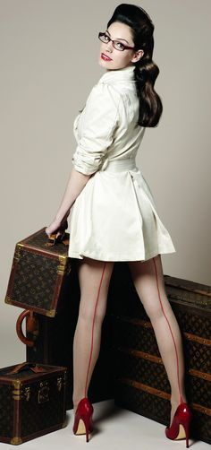 Pinup Photo: office pinup with red back-seamed hose. Love the forties look