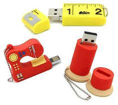 Collection of sewing flash drives!!!  Too cute!  Would love to have this as a gift.  (Too expensive to buy for myself!)  Hint, hint.